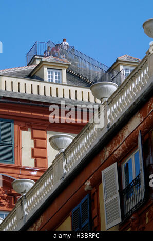 Genoa  Italy Roof & viewing platform Palazzo Rosso - Stock Photo