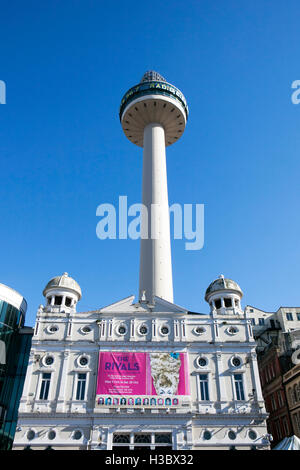 The Liverpool Playhouse & City Tower, a theatre in Williamson Square in the city of Liverpool, Merseyside, England. - Stock Photo