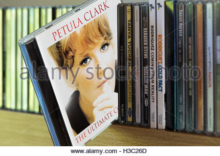 2002 Petula Clark The Ultimate Collection CD pulled out from among other CD's on a shelf - Stock Photo