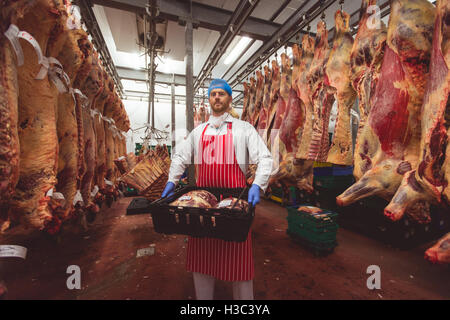 Butcher carrying crates of red meat in storage room - Stock Photo