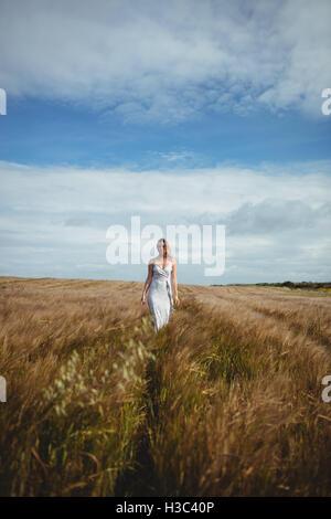 Beautiful woman walking through wheat field - Stock Photo