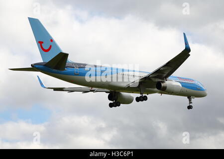Thomson Airways Boeing 757-200 G-OOBN arriving at Birmingham Airport, UK - Stock Photo