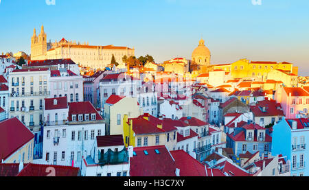 Colorful Alfama district - Old Town of Lisbon. Portugal - Stock Photo