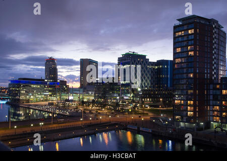Dusk at MediaCityUK Complex, the broadcasting and digital creativity centre located at Salford Quays near Manchester. - Stock Photo