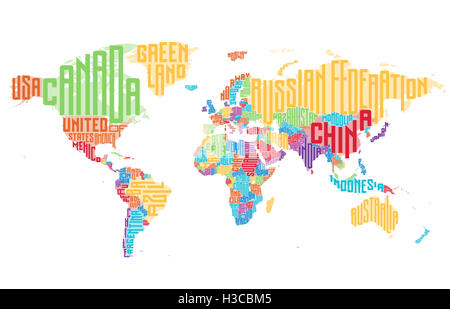 World Map Made Of Typographic Country Names Stock Photo Royalty - World map with country name