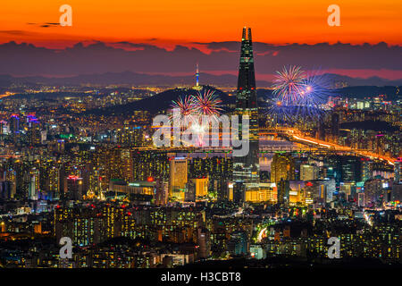 Seoul Fireworks In Seoul City Skyline,South Korea. Stock Photo