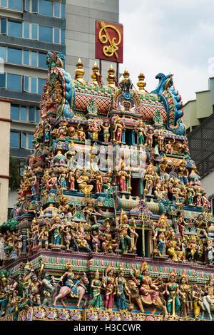 Singapore  Little India, Serangoon Road, Sri Veeramakaliamman Temple - Stock Photo