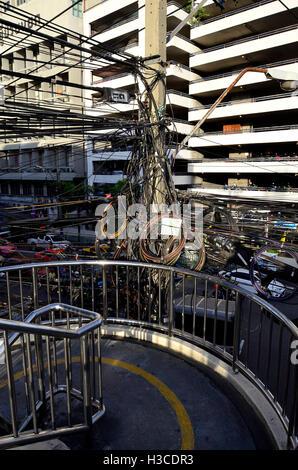 Electrical wiring in bangkok - Stock Photo