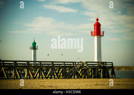Lighthouses at Trouville-sur-Mer, Normandy, France - Stock Photo