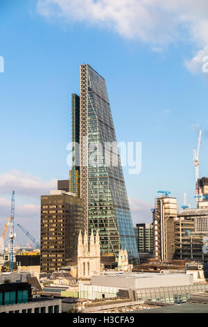 Commercial real estate property industry and financial sector: Leadenhall Building (Cheesegrater) London EC3 dwarfing - Stock Photo