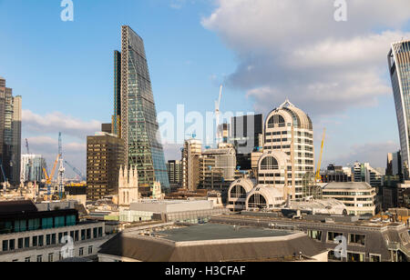 Commercial real estate property industry: landscape of the Leadenhall Building (Cheesegrater), Lloyds Building  - Stock Photo