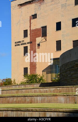 The exterior of the Oklahoma City National Memorial Museum, overlooking the national memorial where the Murrah building - Stock Photo