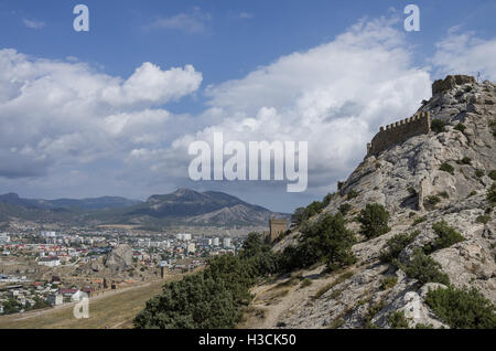 View of Sudak town from Ancient Genoese fortress in. Crimea, Russia. Ukraine - Stock Photo