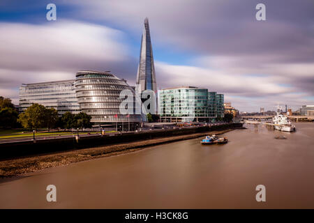 London Skyline and The River Thames, London, UK - Stock Photo