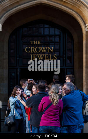 People Queue To See The Crown Jewels In The Jewel House At The Tower Of London, London, England - Stock Photo