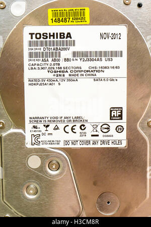 2TB HDD Toshiba DT01ABA200V. Toshiba Corporation is a Japanese multinational conglomerate corporation headquartered - Stock Photo