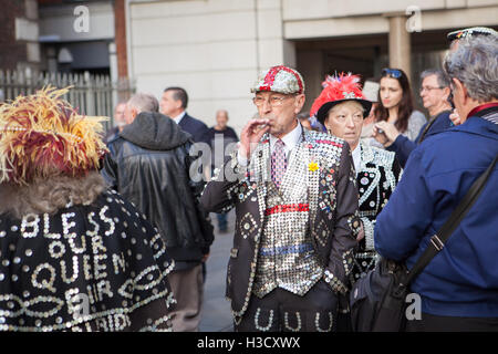 The Annual Pearly Kings and Queens & Costermongers Harvest Festival Held At The Guildhall, London, UK - Stock Photo