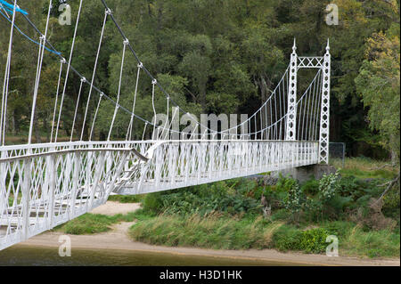 Cambus O May foot bridge over the River Dee near Ballater damaged by floods in December 2015  Aberdeenshire Scotland - Stock Photo