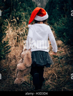 Rear view of girl with teddy bear walking on field - Stock Photo