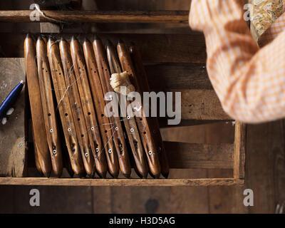 Tools used for weaving in Inle Lake, Myanmar (Burma) - Stock Photo