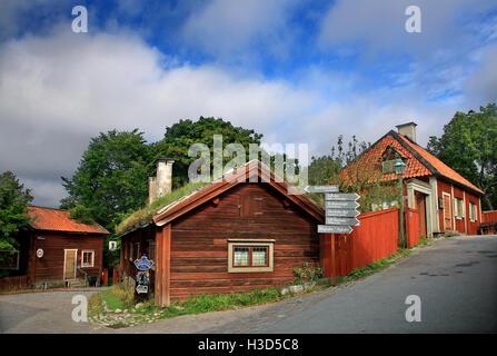 Traditional 'old' Swedish architecture in Skansen open air museum, Djurgarden island, Stockholm, Sweden - Stock Photo