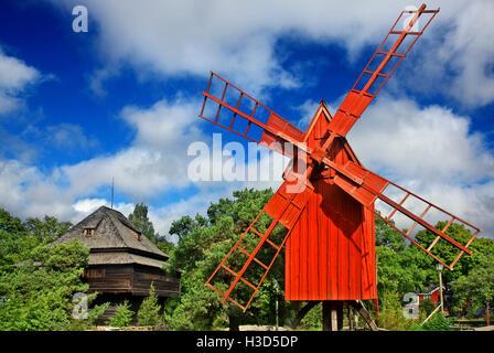 Beautiful old windmill  in Skansen open air museum, Djurgarden island, Stockholm, Sweden - Stock Photo
