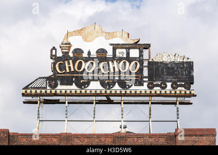 The steam locomotive-shaped sign on the roof of the Chattanooga Choo-Choo hotel in Chattanooga, Tennessee. - Stock Photo
