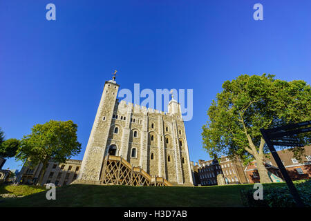 London, SEP 11: The historical and beautiful Tower of London on SEP 11, 2016 at London, United Kingdom - Stock Photo
