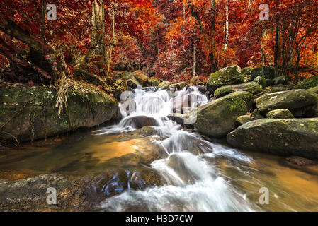 Krathing Waterfall in the deep forest , Chanthaburi province Thailand - Stock Photo