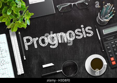 Prognosis on Black Chalkboard. 3D Rendering. - Stock Photo