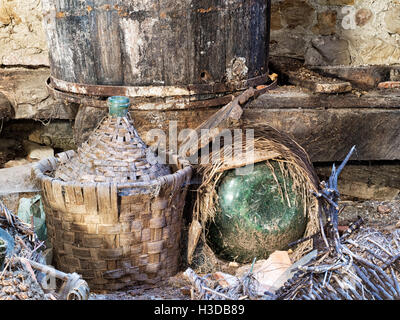 Rural wine making in Italy - heritage now increasingly abandoned. - Stock Photo