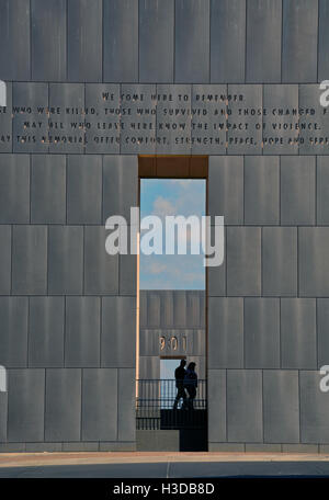 Two gates at the Oklahoma City National Memorial mark before (9:01) and after (9:03) the bombing of the Murrah Federal - Stock Photo