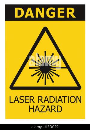 Laser radiation hazard safety danger warning text sign sticker label, high power beam icon signage, isolated black - Stock Photo