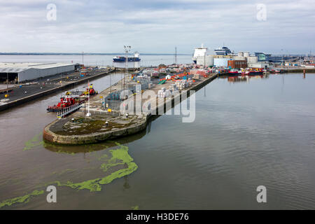 King George Dock in the Port of Hull at Kingston upon Hull, England, UK - Stock Photo