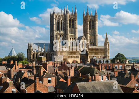 Western front facade of historic Lincoln Cathedral, City of Lincoln, Lincolnshire, England UK - Stock Photo