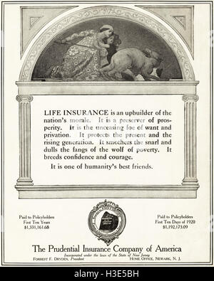 1920 advert from original old vintage American magazine 1920s advertisement advertising The Prudential Insurance - Stock Photo