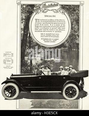 1920 advert from original old vintage American magazine 1920s advertisement advertising Studebaker cars of Detroit - Stock Photo