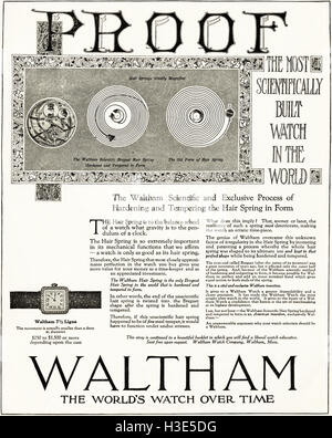 1920 advert from original old vintage American magazine 1920s advertisement advertising Waltham Watches - Stock Photo