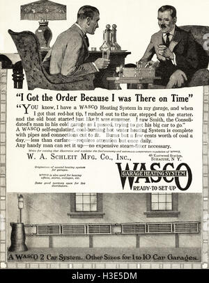 1920 advert from original old vintage American magazine 1920s advertisement advertising Wasco garage heating systems - Stock Photo