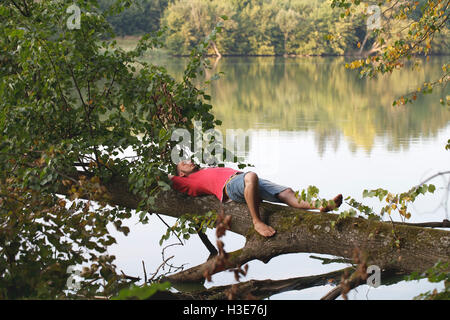 a young man lies on a tree and relaxing, nature lake water trees - Stock Photo