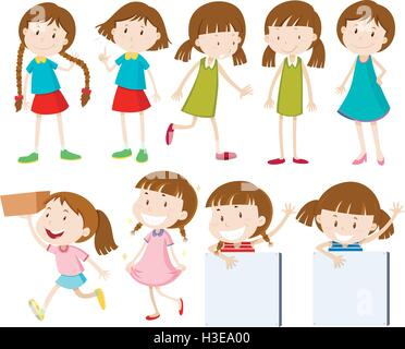 Girls doing different actions illustration - Stock Photo
