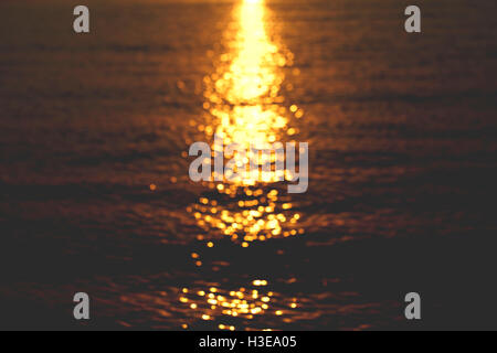 a sun glare on the water, beautiful background - Stock Photo