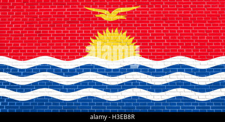 Kiribati national official flag. Patriotic symbol, banner, element, background. Accurate dimensions. Correct size, - Stock Photo