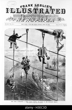BROOKLYN BRIDGE, New York, in  1883 on the cover of Frank Leslie's Illustrated Newspaper - Stock Photo