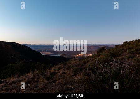 Sunset in Valley Of Desolation, Overlooking the town, Graaff-Reinet - Stock Photo
