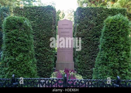 Copenhagen, Denmark - October 04, 2016: The grave of famous danish writer Hans Christian Andersen - Stock Photo