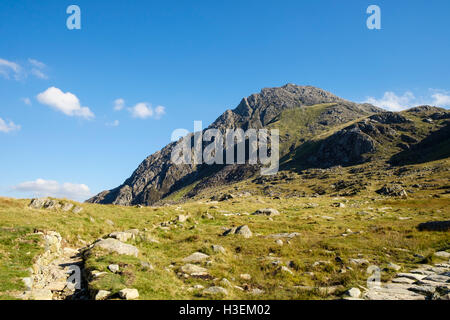 Path to Mount Tryfan with north ridge seen in profile from west side in Snowdonia National Park. Ogwen Conwy Wales UK Britain