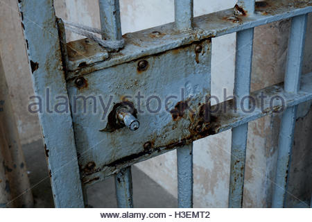old rusty steel prison cell door in derelict jail Stock ...