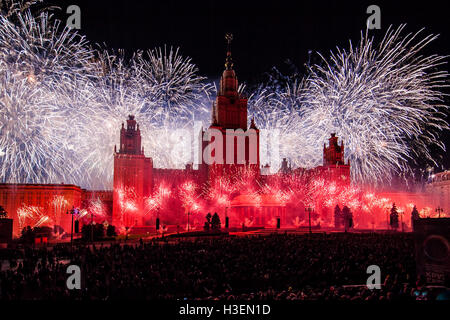 Moscow International Festival Circle of light. Pyrotechnic fireworks show on Moscow State University - Stock Photo