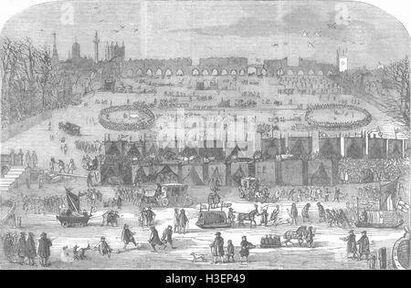 LONDON Fair on frozen Thames in 17th Century 1855. Illustrated London News - Stock Photo